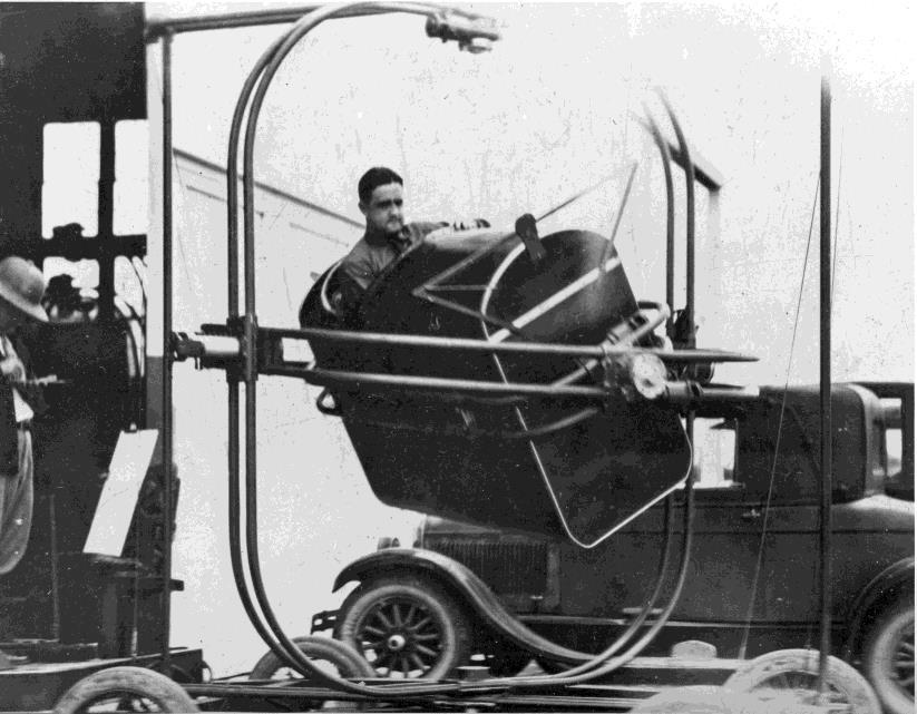 Draper in an Early Flight Simulator